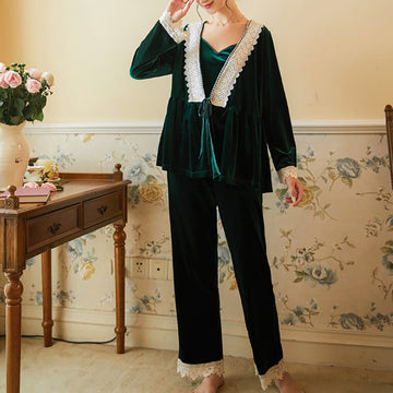 Women Green Sexy Pajamas Three Pieces Set