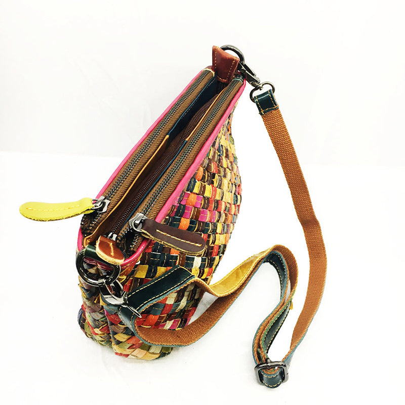 Women Hand Woven Leather Crossbody Bag