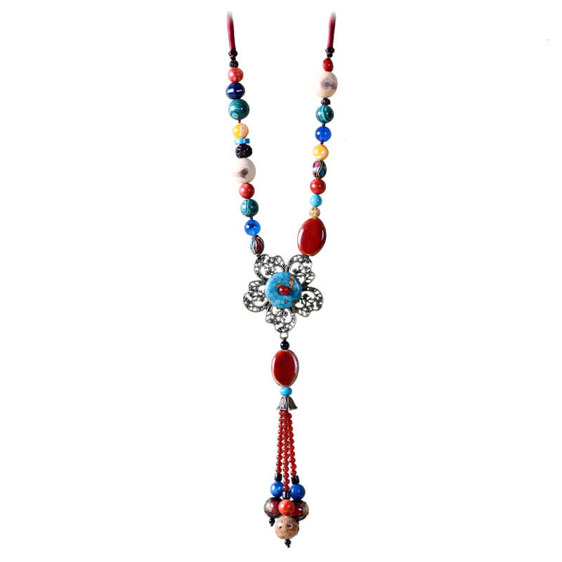 Women Handmade Floral Fashion Retro Long Necklace