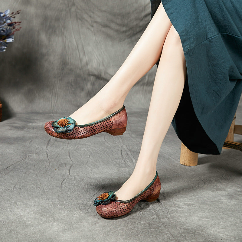 Women Hollow Flower Low Heel Shoes