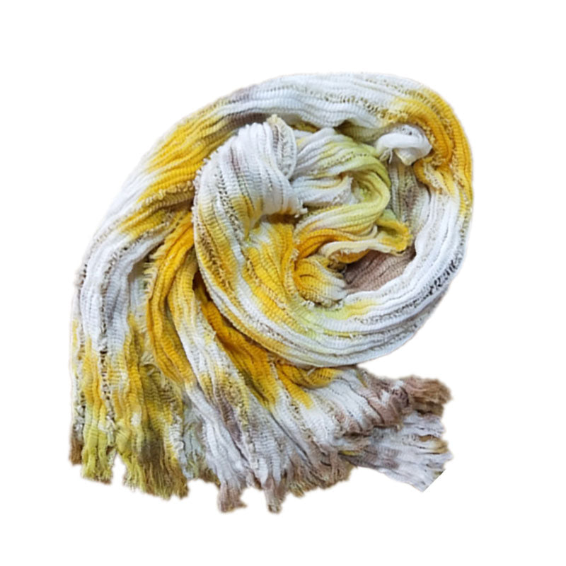 Women Hollow Out Pleated Color Contrast Spring Scarf