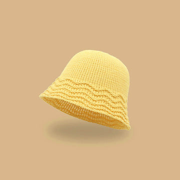 Women Hollow Out Solid Color Sunscreen Knitted Hat