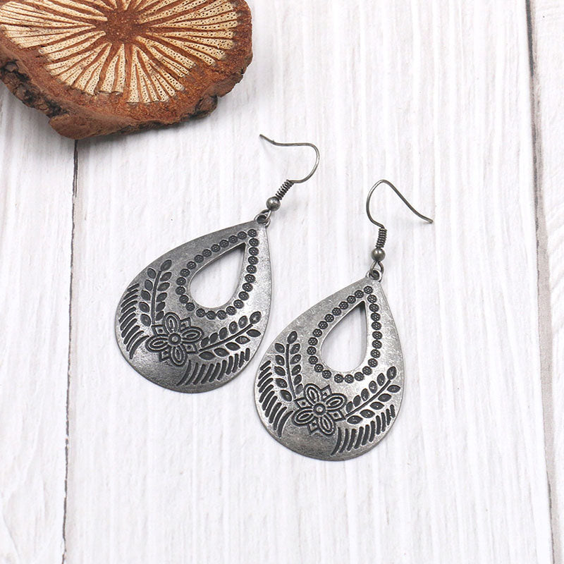Women Hollow Water Drop Shaped Earrings