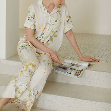 Women Home Casual Floral Pajamas Suits