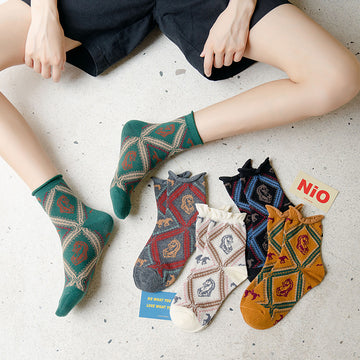 Women Horse Pattern Cotton Socks(6 Pairs)
