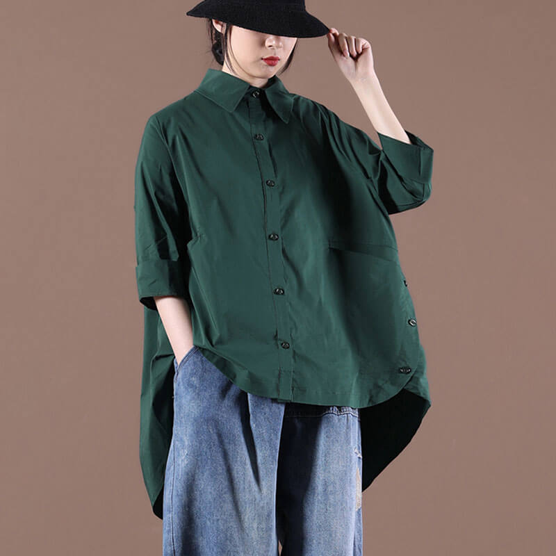 Women Irregular Hem Casual Pleated Pure Color Blouse Shirt