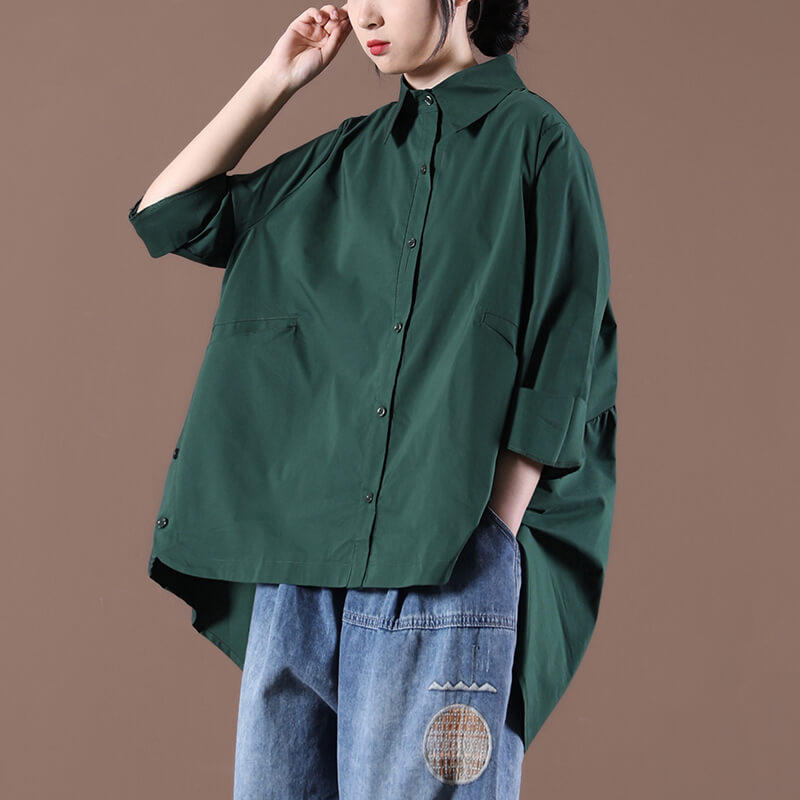 Women Irregular Hem Casual Pleated Pure Color Blouse