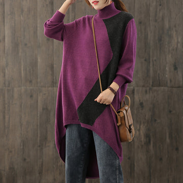 Women Irregular Hem Knitted Stitching Sweater