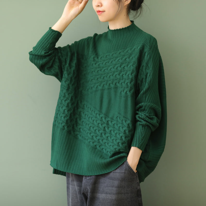 Women Irregular Hem Plain Knitted Sweater