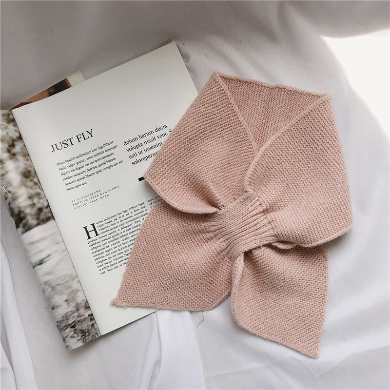 Women Knitted Bow Pure Color Scarf