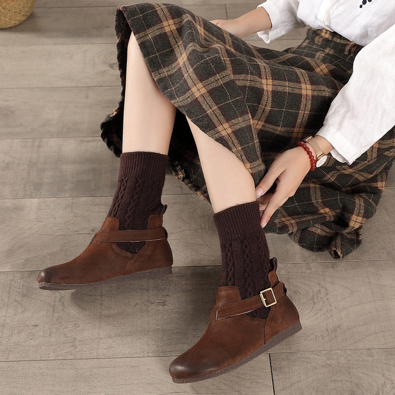 Women Knitted Cloth Stitching Leather Boots