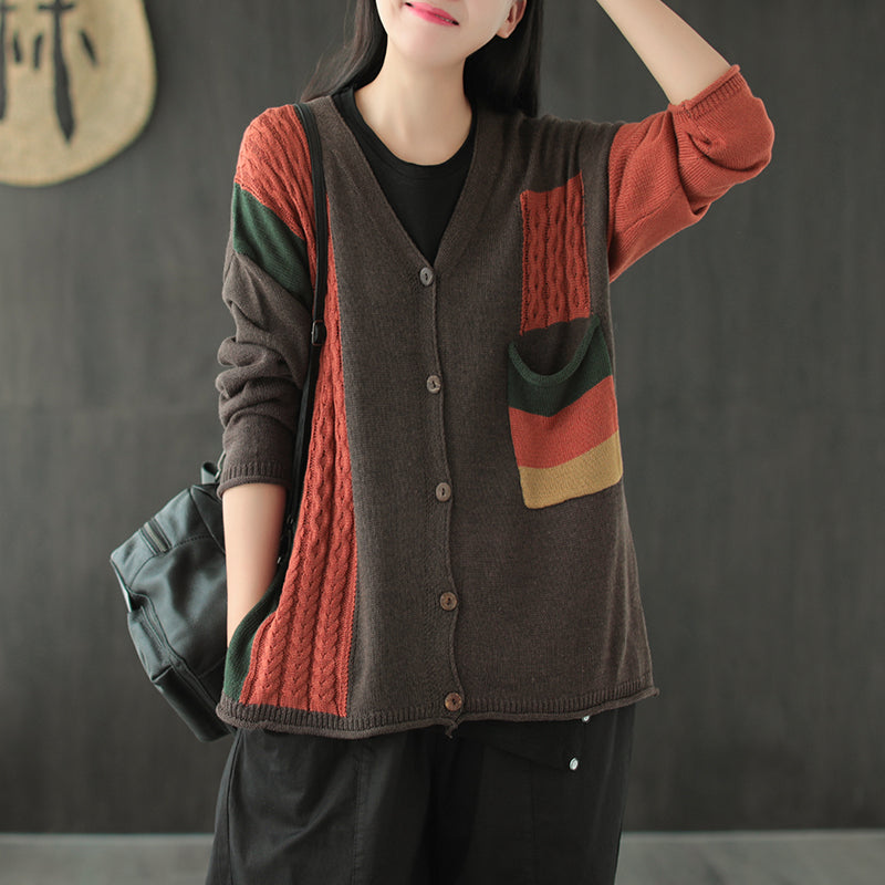 Women Knitted Color Contrast Overcoat