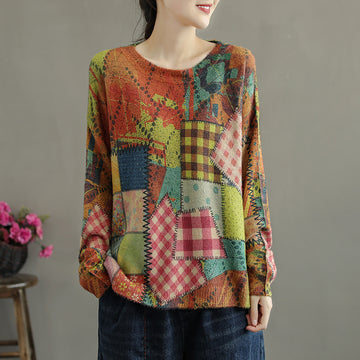 Women Knitted Color Stitching Sweater