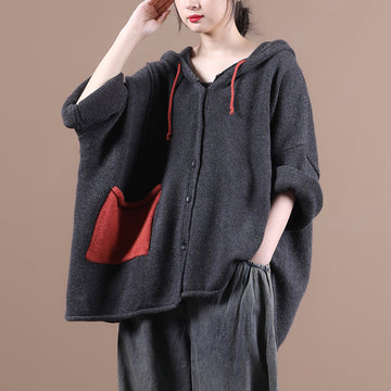 Women Knitted Hooded Color Contrast Coat
