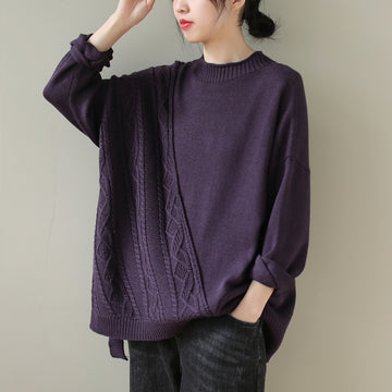 Women Knitted Irregular Pure Color Sweater