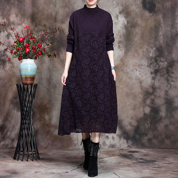 Women Knitted Lace Stitching Dress