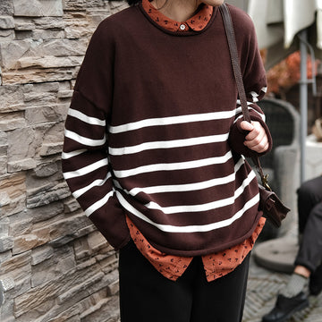 Women Knitted Loose Striped Sweater