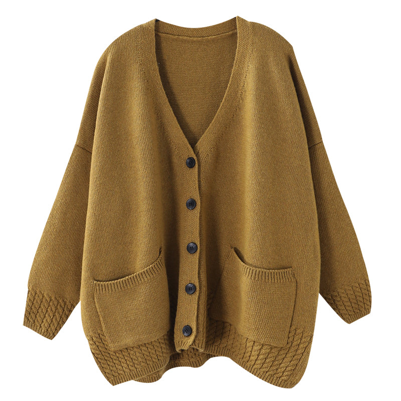 Women Knitted V-neck Cotton Cardigan Coat