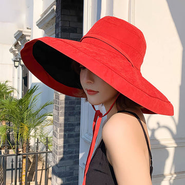 Women Lace-up Design Double-sided Sunscreen Hat