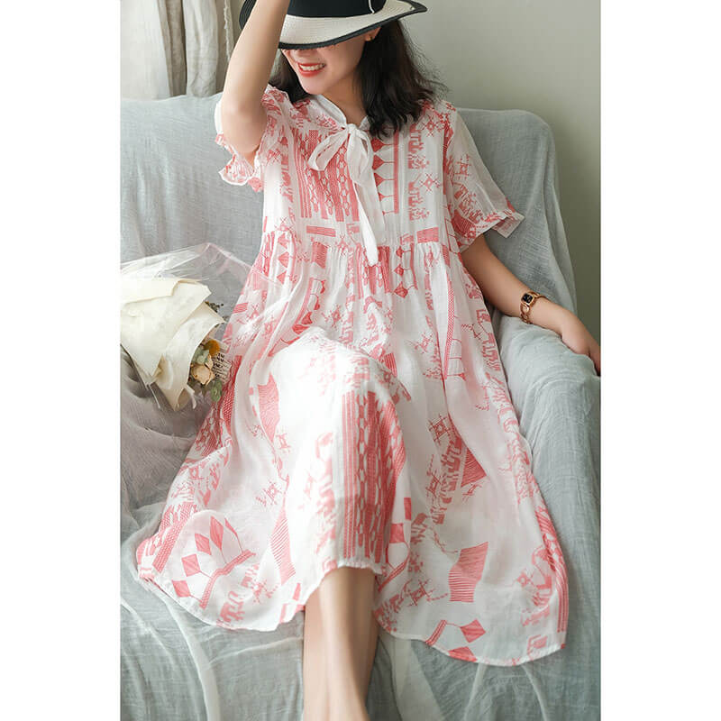Women Lace-up Geometric Summer Casual Pleated Dress