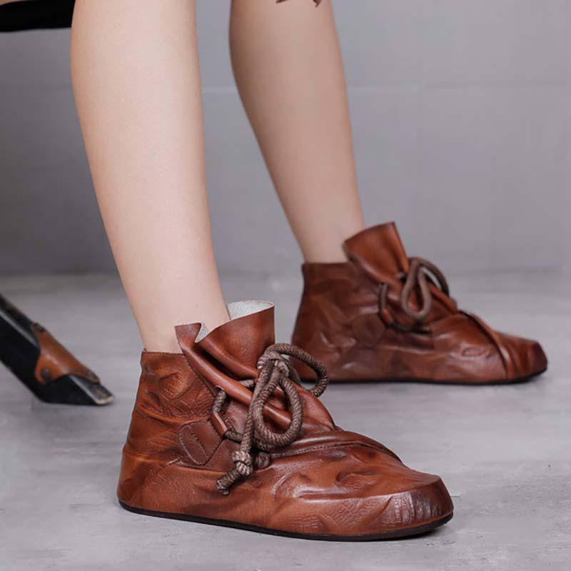 Women Lace-up Round-toe Leather Shoes