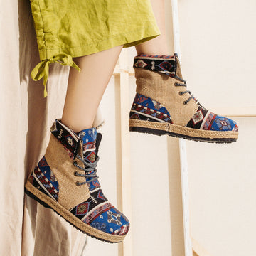 Women Lace-up Stitching Linen Boots