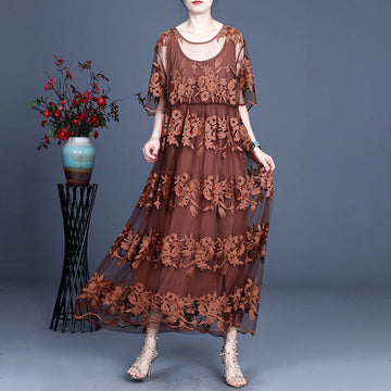 Women Lace Short Sleeve Embroidered Maxi O-neck Dress