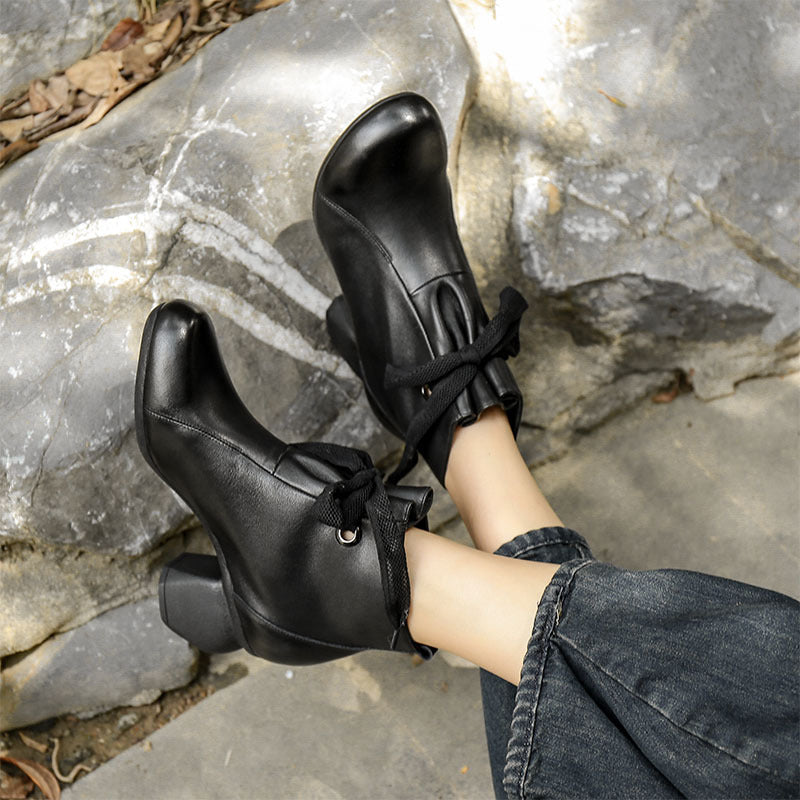 Women Lacing Chunky Heel Leather Boots