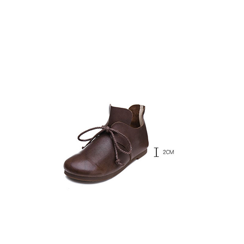 Women Lacing Shoes Pure Color Leather Boots