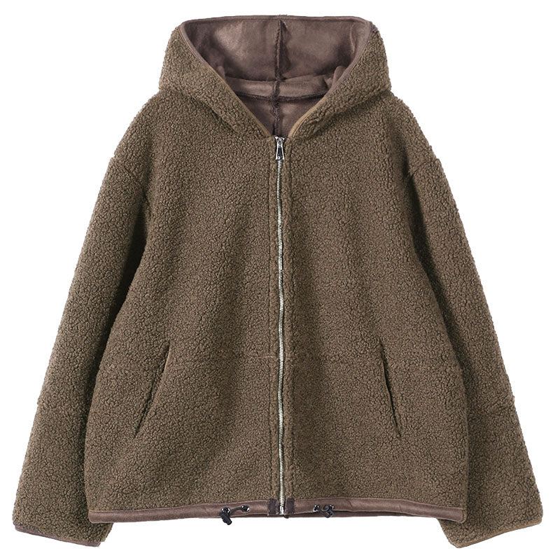 Women Lambswool Zipper Drawstring Coat