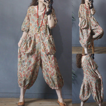 Women Leaf V-neck Print Linen Casual Jumpsuits Dungarees