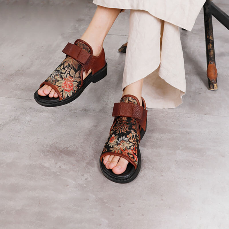 Women Leather Floral Retro Woven Summer Sandals