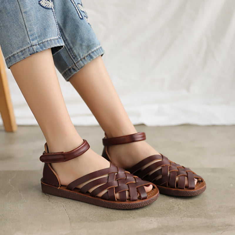 Women Leather Retro Hollow Weave Sandals