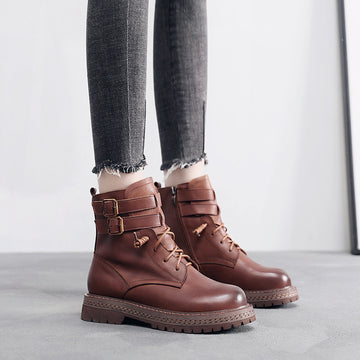 Women Leather Solid Color Zipper Boots
