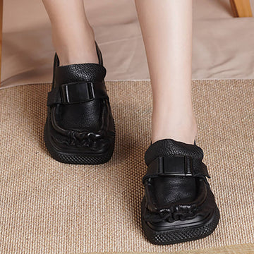 Women Leather Sport Casual Square Toe Shoes