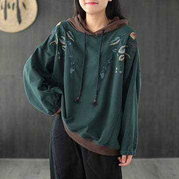 Women Leaves Embroidery Hooded Sweatshirt
