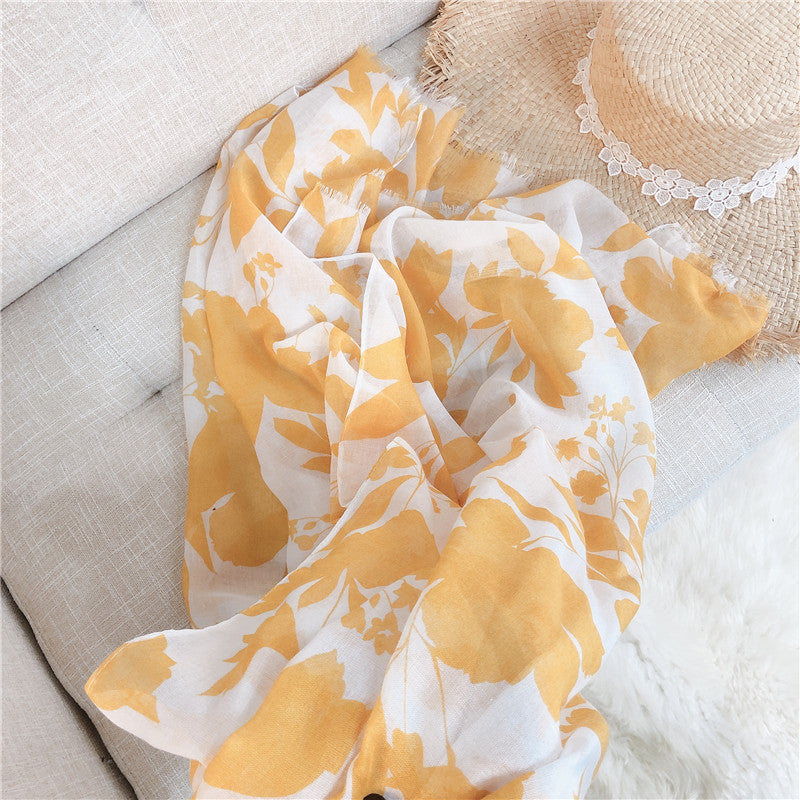 Women Leaves Print Sunscreen Scarf