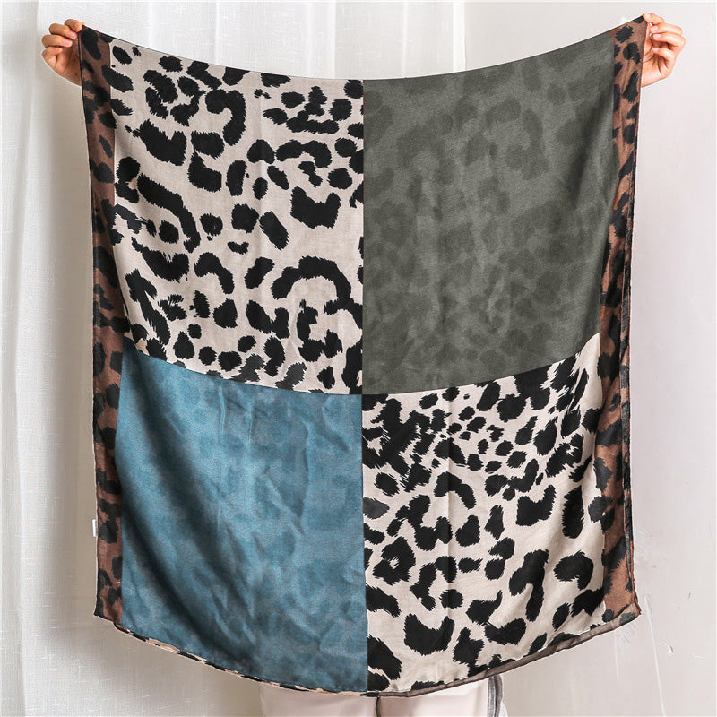 Women Leopard Print Color Matching Scarf