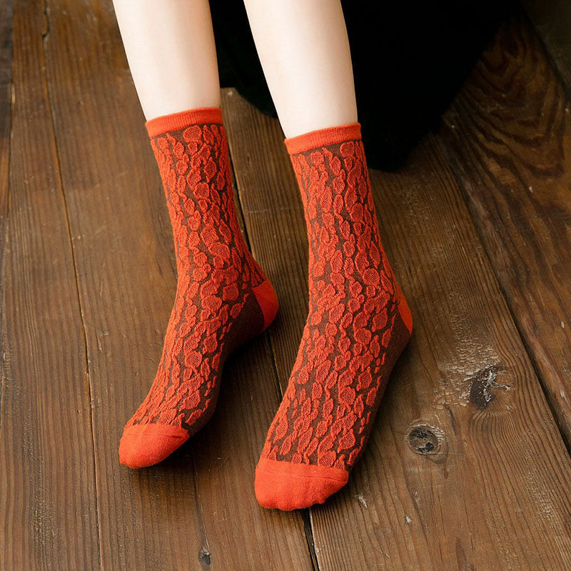 Women Leopard Print Stitching Cotton Socks(5 Pairs)