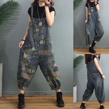 Women Letter Distressed Denim Overalls