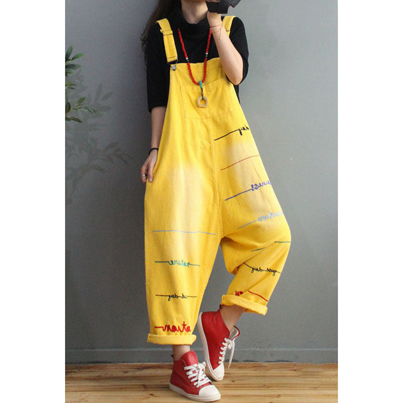 Women Letter Embroidered Pocket Overalls Jumpsuits