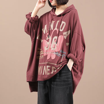 Women Letter Print Hooded Drawstring Sweatshirt