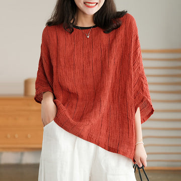Women Linen Pure Color Pleated Casual O-neck T-shirt
