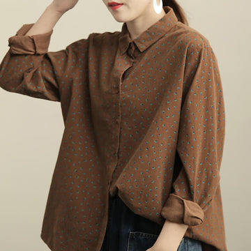 Women Loose Casual Corduroy Shirt