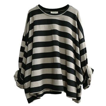 Women Loose Casual Striped Cotton T-shirt