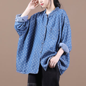 Women Loose Dot Single Breasted Blouse