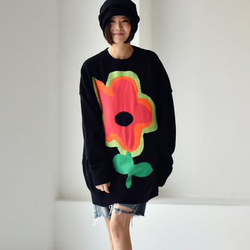 Women Loose Floral Knitted Sweater