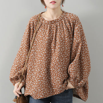 Women Loose Floral Print Cotton Blouse