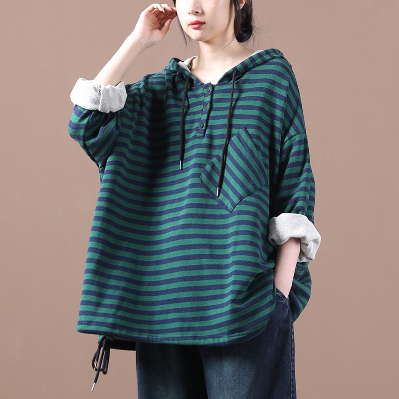Women Loose Hooded Striped Sweatshirt