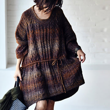 Women Loose Knitted Drawstring Sweater